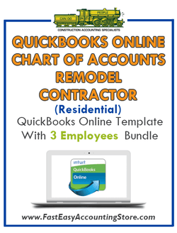 Remodel Contractor Residential QuickBooks Online Chart Of Accounts With 0-3 Employees Bundle
