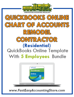 Remodel Contractor Residential QuickBooks Online Chart Of Accounts With 0-5 Employees Bundle