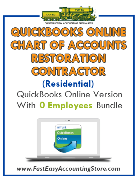 Restoration Contractor Residential QuickBooks Online Chart Of Accounts With 0 Employees Bundle
