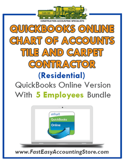 Tile And Carpet Contractor Residential QuickBooks Online Chart Of Accounts With 0-5 Employees Bundle - Fast Easy Accounting Store