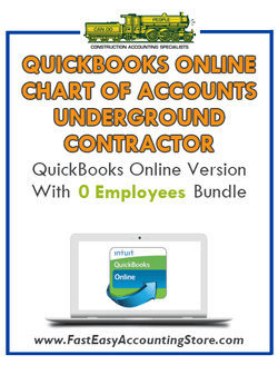 Underground Contractor QuickBooks Online Chart Of Accounts With 0 Employees Bundle