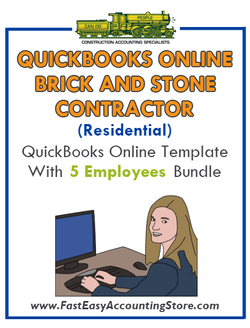 Brick And Stone Contractor Residential QuickBooks Online Setup Template With 0-5 Employees Bundle - Fast Easy Accounting Store