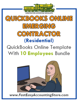 Emerging Contractor Residential QuickBooks Online Setup Template With 0-10 Employees Bundle - Fast Easy Accounting Store