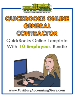 General Contractor QuickBooks Online Setup Template With 0-10 Employees Bundle