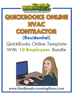 HVAC Contractor Residential QuickBooks Online Setup Template With 0-10 Employees Bundle - Fast Easy Accounting Store
