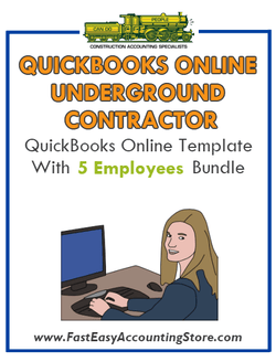 Underground Contractor QuickBooks Online Setup Template With 0-5 Employees Bundle - Fast Easy Accounting Store