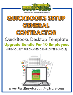 General Contractor QuickBooks Setup Desktop Template Upgrade From 0 To 10 Employees Bundle - Fast Easy Accounting Store