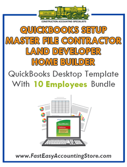 Master File Contractor Land Developer And Home Builder QuickBooks Setup Desktop Template 0-10 Employees Bundle