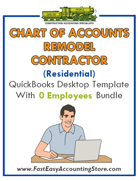 Remodel Contractors Residential QuickBooks Chart Of Accounts Desktop Version With 0 Employees Bundle