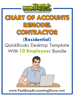 Remodel Contractors Residential QuickBooks Chart Of Accounts Desktop Version With 10 Employees Bundle