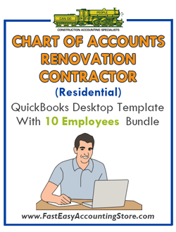Renovation Contractor Residential QuickBooks Chart Of Accounts Desktop Version With 0-10 Employees Bundle