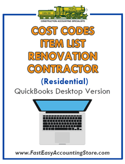 Renovation Contractor Residential QuickBooks Cost Codes Item List Desktop Version Bundle - Fast Easy Accounting Store