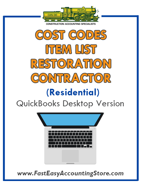 Restoration Contractor Residential QuickBooks Cost Codes Item List Desktop Version Bundle - Fast Easy Accounting Store
