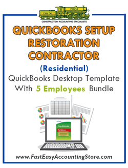 Restoration Contractor Residential QuickBooks Setup Desktop Template 0-5 Employees Bundle