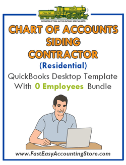 Siding Contractor Residential QuickBooks Chart Of Accounts Desktop Version With 0 Employees Bundle - Fast Easy Accounting Store