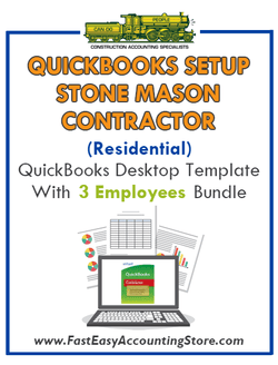 Stone Mason Contractor Residential QuickBooks Setup Desktop Template 0-3 Employees Bundle - Fast Easy Accounting Store