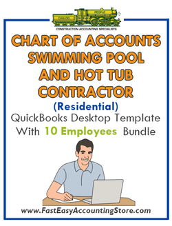 Swimming Pool And Hot Tub Contractor Residential QuickBooks Chart Of Accounts Desktop Version With 0-10 Employees Bundle