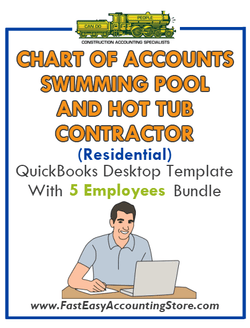 Swimming Pool And Hot Tub Contractor Residential QuickBooks Chart Of Accounts Desktop Version With 0-5 Employees Bundle