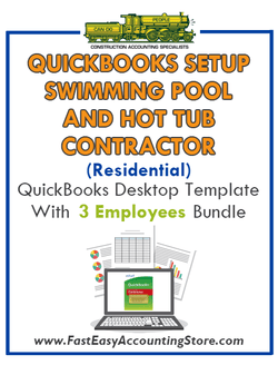 Swimming Pool And Hot Tub Contractor Residential QuickBooks Setup Desktop Template 0-3 Employees Bundle