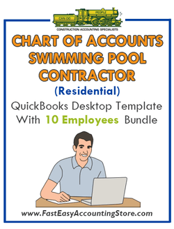 Swimming Pool Contractor Residential QuickBooks Chart Of Accounts Desktop Version With 0-10 Employees Bundle
