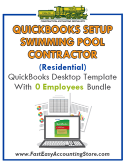 Swimming Pool Contractor Residential QuickBooks Setup Desktop Template 0 Employees Bundle