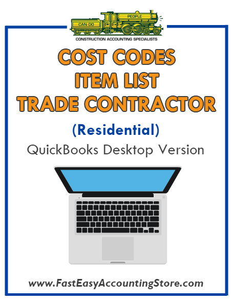 Trade Contractor Residential QuickBooks Cost Codes Item List Desktop Version Bundle