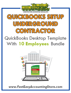 Underground Contractor QuickBooks Setup Desktop Template 0-10 Employees Bundle - Fast Easy Accounting Store