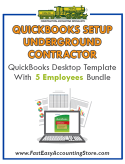 Underground Contractor QuickBooks Setup Desktop Template 0-5 Employees Bundle - Fast Easy Accounting Store