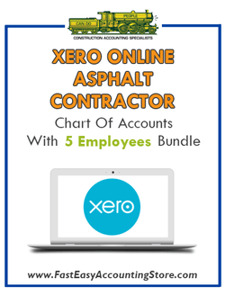 Asphalt Contractor Xero Online Chart Of Accounts With 0-5 Employees Bundle - Fast Easy Accounting Store