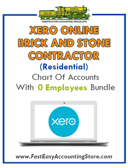 Brick And Stone Contractor Residential Xero Online Chart Of Accounts With 0 Employees Bundle - Fast Easy Accounting Store