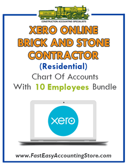 Brick And Stone Contractor Residential Xero Online Chart Of Accounts With 0-10 Employees Bundle - Fast Easy Accounting Store