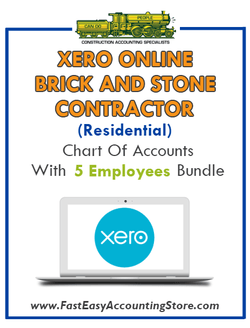 Brick And Stone Contractor Residential Xero Online Chart Of Accounts With 0-5 Employees Bundle - Fast Easy Accounting Store