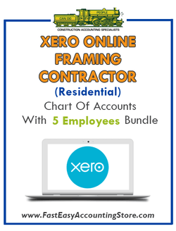 Framing Contractor Residential Xero Online Chart Of Accounts With 0-5 Employees Bundle