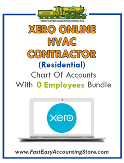 HVAC Contractor Residential Xero Online Chart Of Accounts With 0 Employees Bundle - Fast Easy Accounting Store