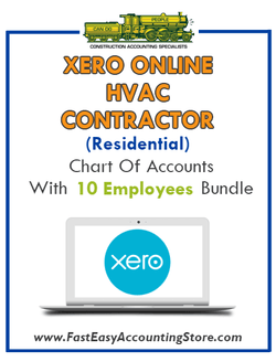 HVAC Contractor Residential Xero Online Chart Of Accounts With 0-10 Employees Bundle - Fast Easy Accounting Store