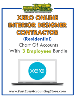 Interior Designer Contractor Residential Xero Online Chart Of Accounts With 0-3 Employees Bundle - Fast Easy Accounting Store