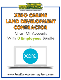 Land Development Contractor Xero Online Chart Of Accounts With 0 Employees Bundle