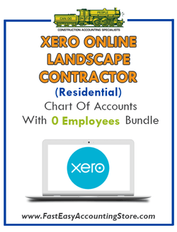 Landscape Contractor Residential Xero Online Chart Of Accounts With 0 Employees Bundle