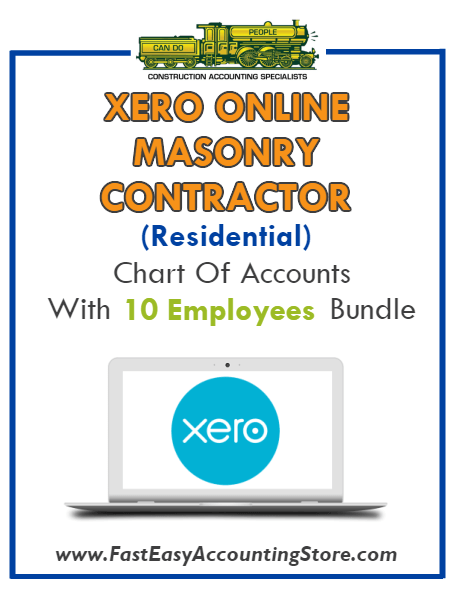 Masonry Contractor Residential Xero Online Chart Of Accounts With 0-10 Employees Bundle - Fast Easy Accounting Store