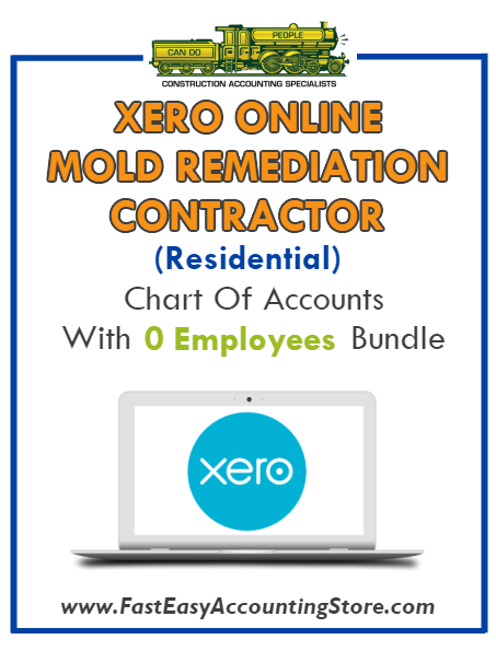 Mold Remediation Contractor Residential Xero Online Chart Of Accounts With 0 Employees Bundle