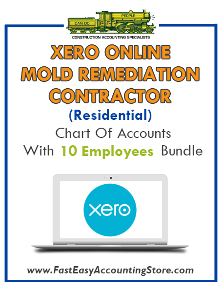 Mold Remediation Contractor Residential Xero Online Chart Of Accounts With 0-10 Employees Bundle - Fast Easy Accounting Store