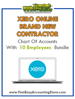 Brand New Contractor Xero Online Chart Of Accounts With 0-10 Employees Bundle
