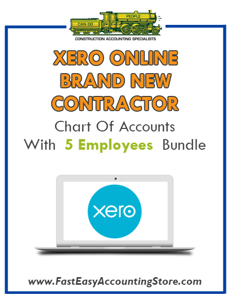 Brand New Contractor Xero Online Chart Of Accounts With 0-5 Employees Bundle - Fast Easy Accounting Store