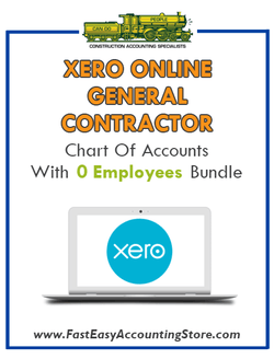 General Contractor Xero Online Chart Of Accounts With 0 Employees Bundle