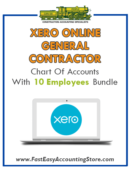 General Contractor Xero Online Chart Of Accounts With 0-10 Employees Bundle