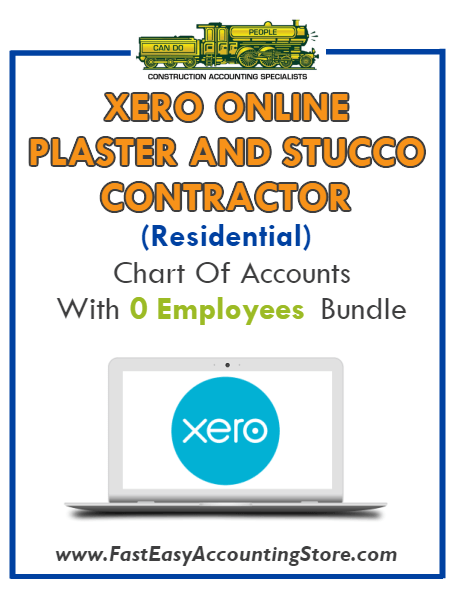 Plaster And Stucco Contractor Residential Xero Online Chart Of Accounts With 0 Employees Bundle
