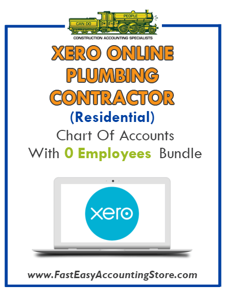 Plumbing Contractor Residential Xero Online Chart Of Accounts With 0 Employees Bundle