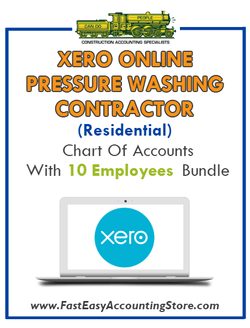 Pressure Washing Contractor Residential Xero Online Chart Of Accounts With 0-10 Employees Bundle - Fast Easy Accounting Store