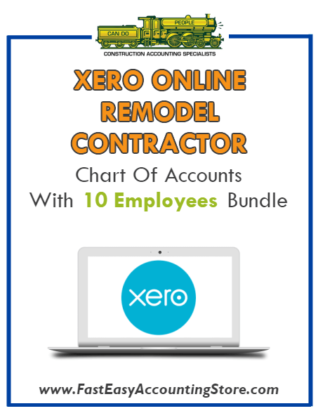 Remodel Contractor Residential Xero Online Chart Of Accounts With 0-10 Employees Bundle - Fast Easy Accounting Store
