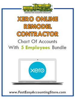 Remodel Contractor Residential Xero Online Chart Of Accounts With 0-5 Employees Bundle - Fast Easy Accounting Store